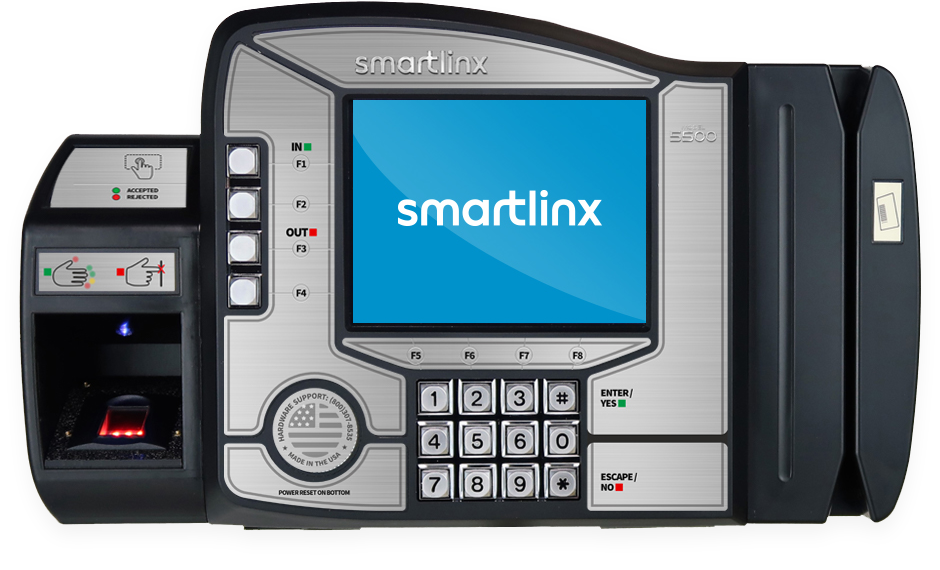Time clock device showing SmartLinx logo on screen